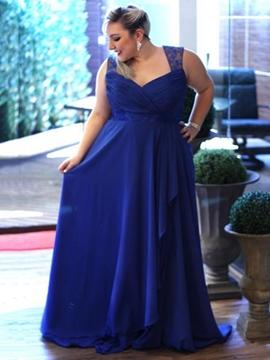 Cute V Neck Pleats Lace Hollow Plus Size Evening Dress