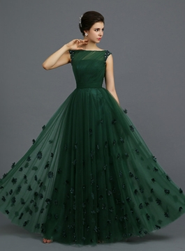 Cute Vintage Bateau Appliques A-Line Long Evening Dress