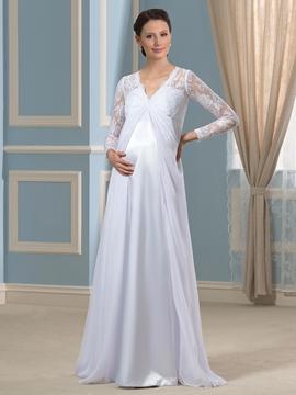 Elegant V Neck Long Sleeves Maternity Dress