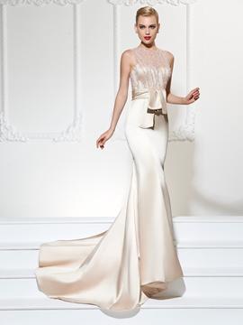 Ericdres Jewel Neckline Beaded Top Mermaid Evening Dress With Court Train