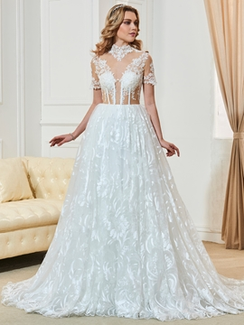 High Neckline Short Sleeves A Line Lace Wedding Dress
