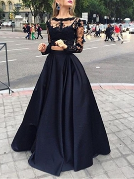 Long Sleeves Two Pieces Lace Evening Dress