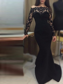 Mermaid Lace Pleats Off-the-Shoulder Long Sleeve Evening Dress