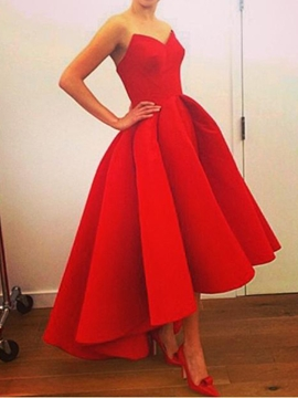 Plain Sweetheart Asymmetrical-Length Evening Dress