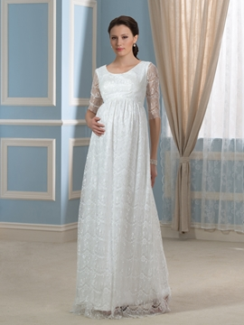 Pretty Scoop Half Sleeves Lace Maternity Wedding Dress