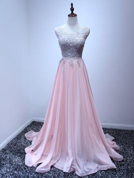 Scoop Neck Appliques Prom Dress