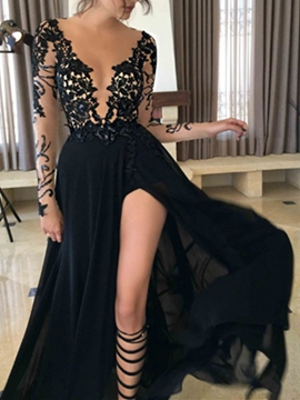 Sexy V-Neck Long Sleeves Lace Black Evening Dress With Split-Front