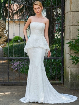 Strapless Mermaid Lace Court Train Wedding Dress