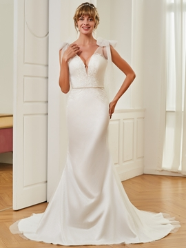 V Neck Mermaid Backless Tulle Wedding Dress