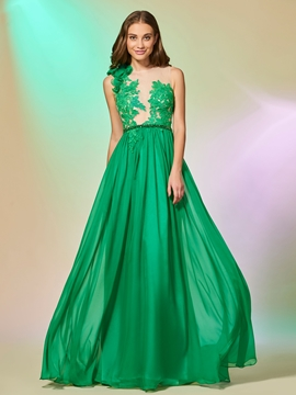 A Line Applique Baeded Long Prom Dress With Button Back