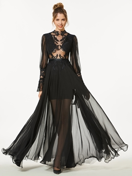 A-Line Appliques Button Long Sleeves Floor-Length Prom Dress