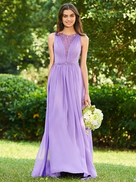 A-Line Beaded Long Bridesmaid Dress