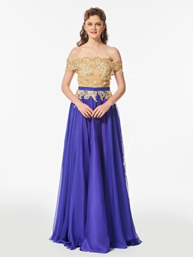 A Line Beaded Off The Shoulder Long Prom Dress With Button Back