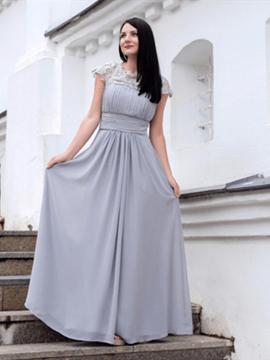 A-Line Cap Sleeve Lace Sequins Open Back Evening Dress