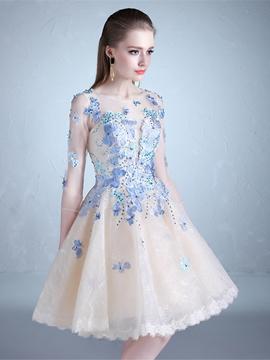 A Line Half Sleeve Applique Knee Length Prom Dress