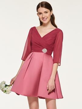 A Line Half Sleeves Short Bridesmaid Dress