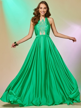 A Line Halter Applique Backless Prom Dress