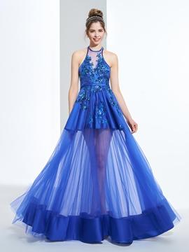 A-Line Halter Appliques Sequins Floor-Length Prom Dress
