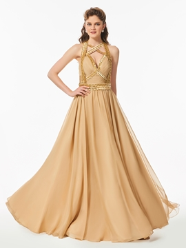A Line Halter Beaded Backless Long Prom Dress