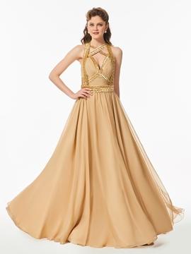 A Line Halter Beaded Backless Long Prom Dress