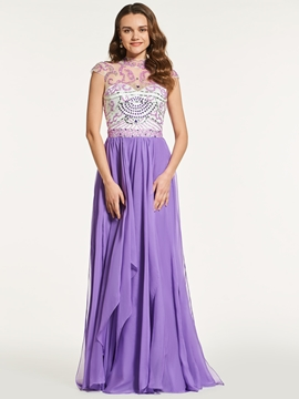 A Line High Neck Cap Sleeve Beaded Backless Prom Dress