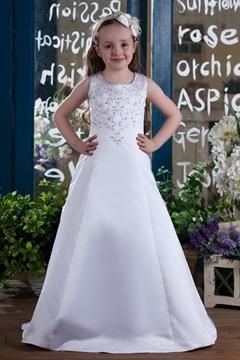 A-Line Jewel Floor Length Flower Girls Dress