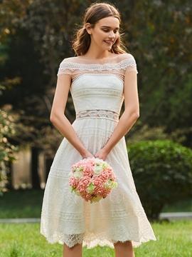 A Line Lace Knee Length Bridesmaid Dress