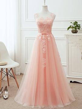 A-Line Mesh Tulle Applique Sleeveless Bridesmaid Dress
