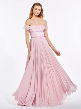 A Line Off The Shoulder Lace Pleats Chiffon Prom Dress