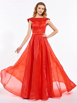 A-Line Off-the-Shoulder Bowknot Pleats Backless Long Prom Dress