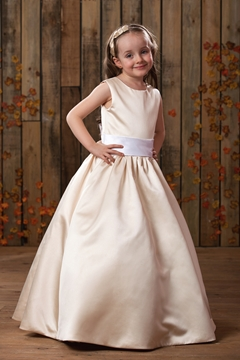 A-Line-Princess Floor length Scoop Satin Flower Girl Dress