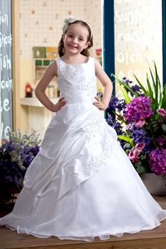 A-Line Round-neck Floor- Length Satin Flower Girls Dress