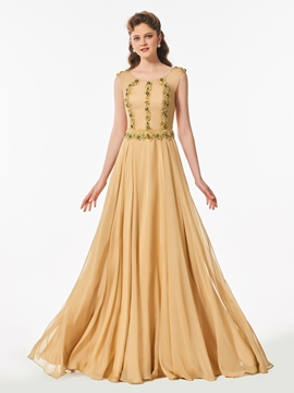 A Line Scoop Neck Beaded Long Prom Dress With Button Back