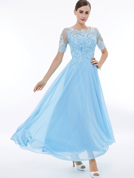 A Line Short Sleeve Chiffon Prom Party Dress With Lace Applique