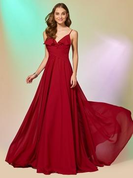A Line Spaghetti Straps Chiffon Backless Long Prom Dress
