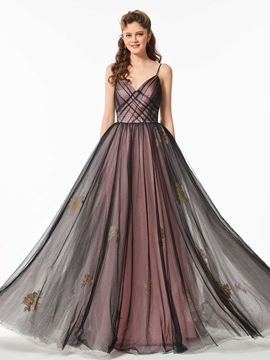 A Line Spaghetti Straps Dot Tulle Long Prom Dress