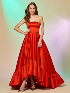 A Line Strapless High Low Asymmetry Evening Dress