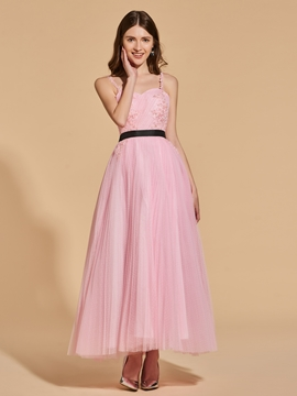 A Line Straps Applique Beaded Ankle Length Prom Dress
