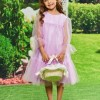 A Line Tulle Long Sleeves Flower Girl Dress