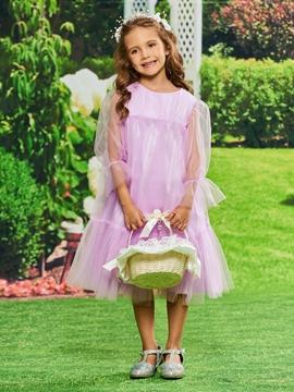 A Line Tulle Long Sleeves Flower Girl Dress