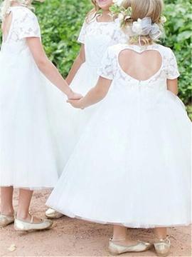 A-Line Tulle Tea Length Flower Girl Dress