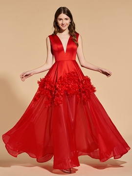 A Line V Neck Flower Applique Red Prom Dress