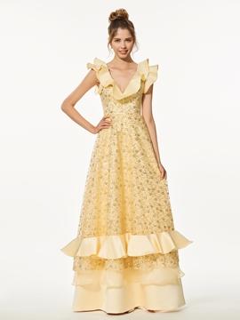 A-Line V-Neck Lace Ruffles Sequins Floor-Length Prom Dress