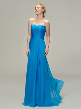 A-line Sweetheart Long Bridesmaid Dress