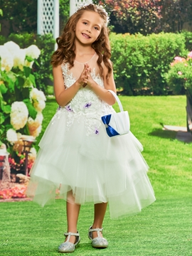 5112314c783 Appliques Ball Gown Tulle Tea Length Flower Girl Dress - Cute Dresses