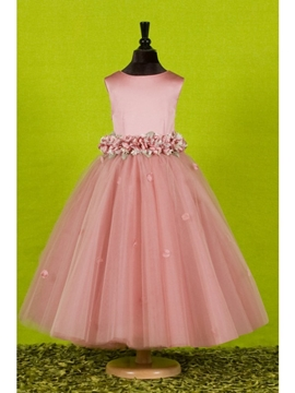 Attractive Ball Gown Ankle Length Flowers Embellishing Flower Girl Dress