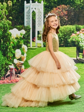 Ball Gown Asymmetry Flower Girl Party Dress
