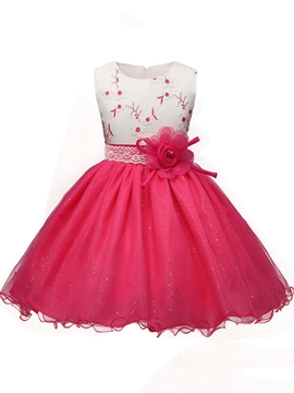 Ball Gown Embroidery Tulle Flower Girl Party Dress