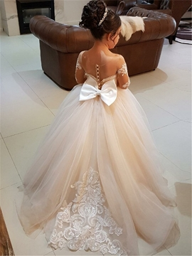 Ball Gown Long Sleeves Appliques Tulle Flower Girl Dress