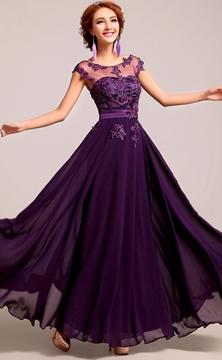 Beautiful A-Line Scoop Appliques Floor Length Bridesmaid Dress